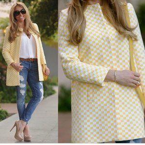 Zara yellow & white checkered coat
